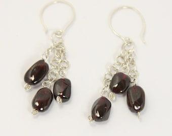 Garnet - 925 Sterling Silver Earring