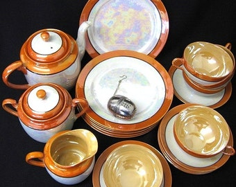 1940s Japan Lusterware Tea & Dessert Set 22 Pieces