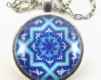 MOROCCAN JEWEL Necklace -- Arabic geometry in shades of blue & white, Detail from a hand-painted Spanish tile, Spiritual art