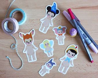 Set 6 stickers Sonny Angel x Disney : Mickey + Pinocchio + Bambi