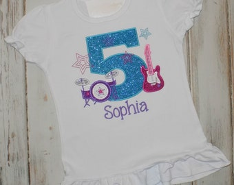 Rock Star Birthday Shirt, Rock and Roll Birthday Shirt, Ruffle shirt, Guitar birthday shirt, Girl Birthday shirt, Sew Cute Creations