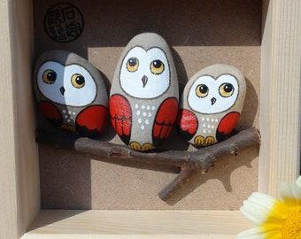 Stone painting, hand-drawn three owls, good friends, birthday, friendship, buddies, cute,