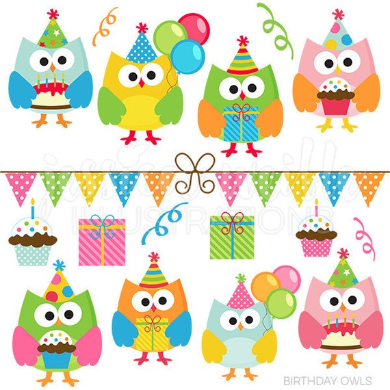 Birthday Owls Cute Digital Clipart Commercial Use Clip art