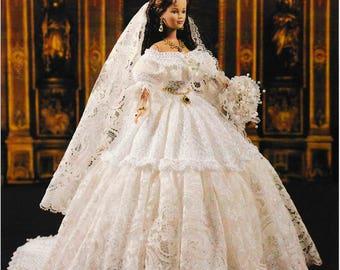 DIGITAL DOWNLOAD  Vintage 1840 Queen Victoria's Wedding Gown Barbie Fashion Doll Crochet Pattern Booklet