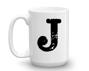 Initial Mug - Letter J - 15oz Ceramic Cup - Sister Gift Mug - Right-Handed or Left-Handed Mug