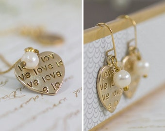 Mother Gift, Gold Heart Pearls Jewelry Set, Heart Necklace and Earring Set, Heart Necklace, Heart Earrings, Heart Charm Set, Love Jewelry