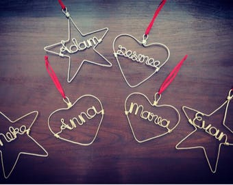 Personalized Name Ornaments - Gold or Silver Wire Ornaments for Holidays/ Gift/ Present/ Tag/ Birthday
