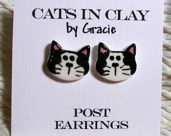 Tuxedo Cat Post Earrings Black & White Stud Earrings Handmade In Kiln Fired Clay by Gracie