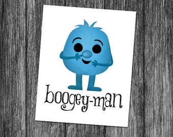 Boogey-Man 8x10 Digital Printable Poster Funny Monster Happy Halloween Boogey Boogers Pun Cute Monsters Scary Puns Booger Gross Picking Nose