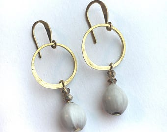 Earrings gray natural seed vintage beads hammered raw brass circles. Rusted Pearl