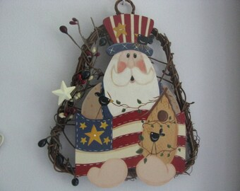 Uncle Sam birdhouse wall hanging, grapevine wreath patriotic, patriotic wall hanging, wall decor, 4th of July wall birdhouse, July 4th decor