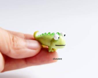 "1.25"" Long Chameleon Miniature, Chameleon Figurine, Lizard Figurine, Gecko, Pet Iguana, Lampwork Glass Miniature, Glass Bead, Lampwork Beads"