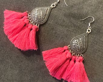 Ethnic earrings hot pink ice