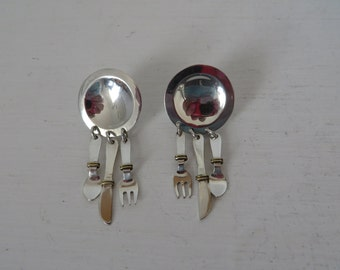 Vintage Plate Fork Knife Spoon Sterling Earrings