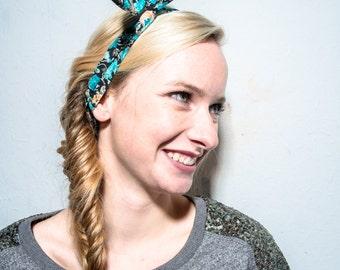 Turquoise retro wire headband, flower printed headband, retro headband, twisted wire headband, women's /teen dolly bow headband