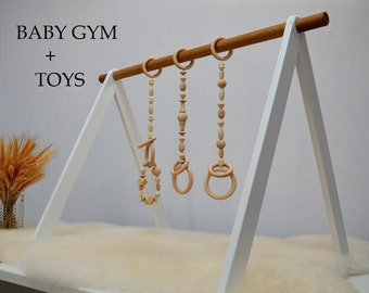 Set of GYM and TOYS,White nursery,Baby activity center with toys,White arch,Montessori toy,Baby gym and toys,Wooden baby gym