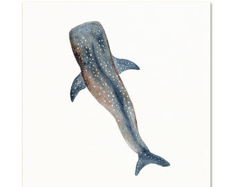 Whale Watercolor Art Print. Ocean Themed Wall Art. Whale Shark Watercolor Art Print. Minimalist Kids Art. Black & White Nursery Art Print.