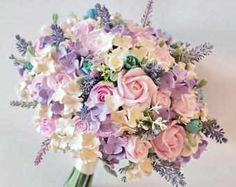 Pink Purple Wedding bouquet Province bouquet Hydrangea bouquet Keepsake bridal bouquet Pink roses bouquet Lavender bouquet
