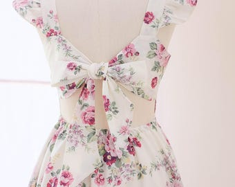 White Summer dress Vintage Prom dress white bridesmaid dresses Floral dress white dress white party dress floral tea dress bow back dress