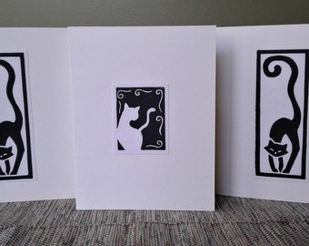 Black and White Cat Blank Greeting Card Pack (Pack of Three Cards), Hand-printed Original Black & White Linocut Relief Print Cards,