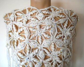 LIQUIDATION Stock SALE 30% OFF Bridesmaid Poncho Capelet Wedding Bridal Accessories Crochet Cape Women Shrug Romantic Shoulder Hand Knitted