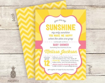You Are My Sunshine Baby Shower Invitations - Colors used: Bubblegum, Yellow, & Grey
