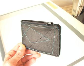 Zipper Billfold Card Holder, Zipper USA Cash Top Pocket, Small wallet, Vegan Wallet RFID slot, Zipper wallet, Vegan billfold, Vegan Wallets