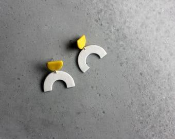 White and yellow porcelain geometric dangle earrings, geometric earrings, white curve earrings