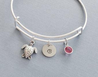Turtle Bracelet, Tortoise, Silver Initial Bangle, Personalized, Expandable, Charm Bracelet, Swarovski Birthstone, BFF, Friend Birthday