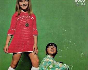 SIRDAR 8006 Baby/Child's Dress Vintage Crochet Pattern PDF Instant Download