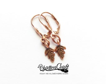 Small Copper Oak Leaf Earrings - Copper Oak Leaf Earrings - Leaf Earrings - Tree Leaf Earrings - Nature Earrings