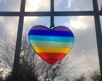 Glass Rainbow heart suncatcher