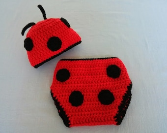 Crochet Lady Bug Hat and Diaper Cover