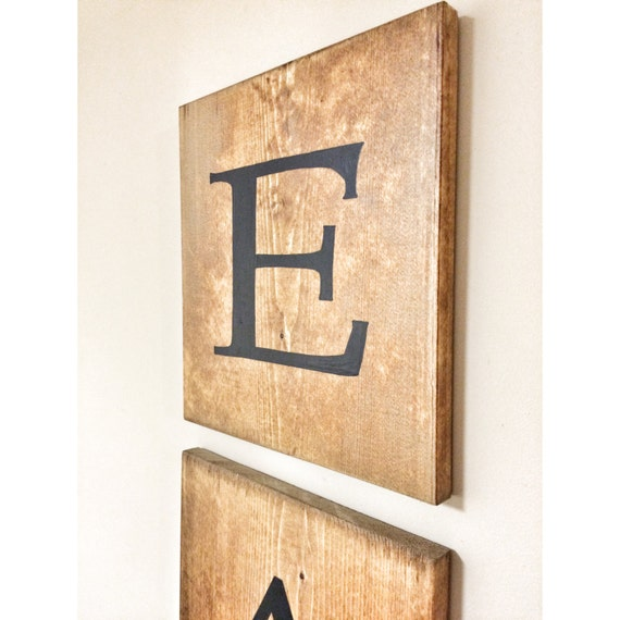 Rustic Giant Jumbo EAT Wooden Tile Letter Home Decor Wood Wall