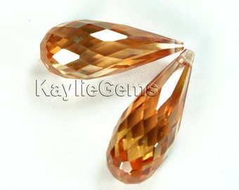 20x8mm Cubic Zirconia CZ Faceted Briolette Tear Drop - Champagne - 1pc