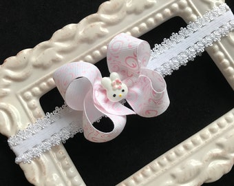 Small Easter bunny infant hair bow lace elastic headband dainty preemie newborn baby toddler pink white Cici's