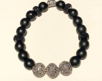 Men's 10mm Onyx Stretch Bracelet with .925 Sterling Silver Accent Beads