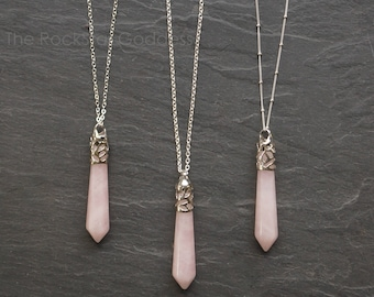 Rose Quartz Necklace / Rose Quartz Pendant / Rose Quartz Jewelry / Quartz Necklace