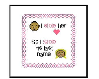 Counted Cross Stitch Pattern, Wedding - Marriage CrossStitch Pattern, I Stole Her Heart