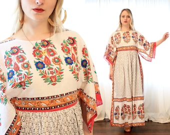 Vintage 1960s 1970s Indian block print printed cotton hanker chief gown folk dress bohemian Woodstock hippie BoHo 60s 70s white red orange