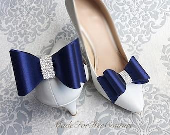 Navy Blue Shoe clips, wedding shoe clips, shoe clip ons, bridal shoe clips, shoe clips wedding, bridal shoes, Bow Shoe clips, shoe clip bows