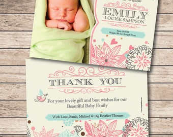 Birth Announcement - Baby Thank You Card - Printable File - Digital Download - New Baby - Baby Stats