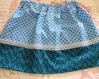 Blue on Blue Lacey Twirl Skirt  Hand Made
