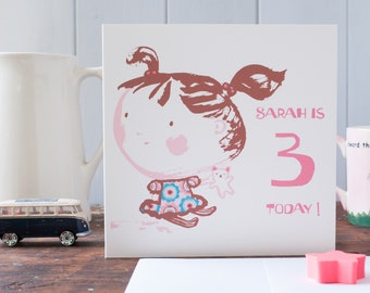 Three today greeting card for a little girl- personalised with any age and words - little sister birthday card -bunches and a teddy- toddler