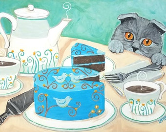 Tea Party Cat Painting - Original Cat Art - Spring Tea Party - Scottish Fold Cat Art - Tea Set - Cat Folk Art - Cat Painting