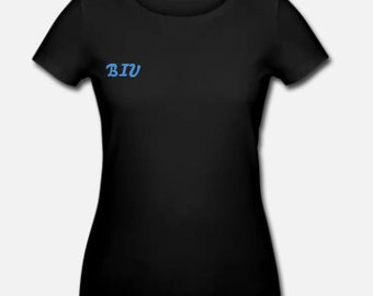 Women type by BIU, Black T-shirt with lovely blue logo