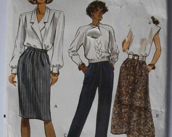 Easy Skirt Pattern, VERY EASY Women's Skirt, Pants Sewing Pattern, UNCUT Vogue 7677, tapered, a line, elastic waist skirt and pants
