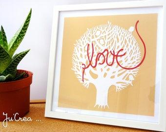 Frame Papercut Kirigami Love tree