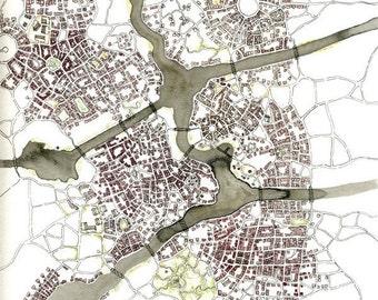 "Print - ""Sunset Parks (Cityspace 84)"" - Imaginary Cartography"