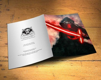 Star Wars Kylo Ren Greetings Card - Wall Decor, Inspirational Print, Home Decor, Eco Friendly, Gift, 5x7 inches Art Print